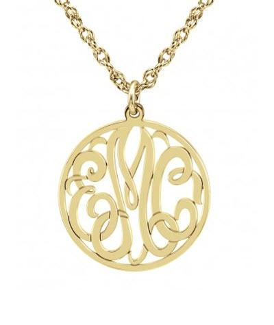 Monogrammed Necklace Mini with Three Initials in Classic Style   Apparel & Accessories > Jewelry > Necklaces