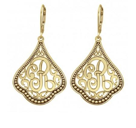 Monogrammed Earrings with Single Scripted Initial   Apparel & Accessories > Jewelry > Earrings
