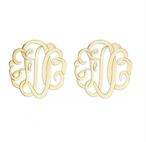 Monogrammed Earrings with Three Initials in Classic Style   Apparel & Accessories > Jewelry > Earrings