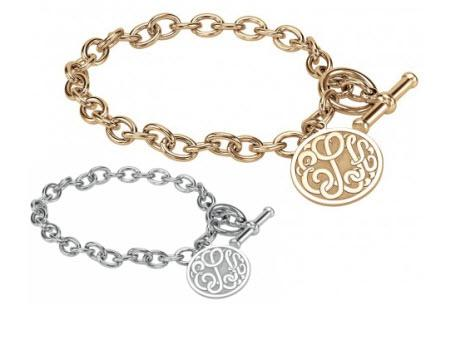 Monogrammed Toggle Bracelet With Initial Disc  Apparel & Accessories > Jewelry > Bracelets