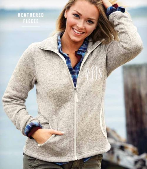 Woman's Sweater Fleece Jacket Monogrammed by Charles River  Apparel & Accessories > Clothing > Activewear > Active Jackets
