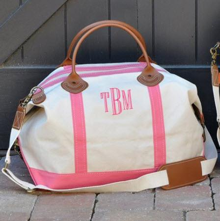 Monogrammed Weekender Bag with Pink Trim   Luggage & Bags > Duffel Bags