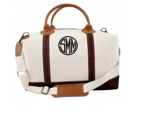 Monogrammed Weekender with Brown Trim   Luggage & Bags > Duffel Bags