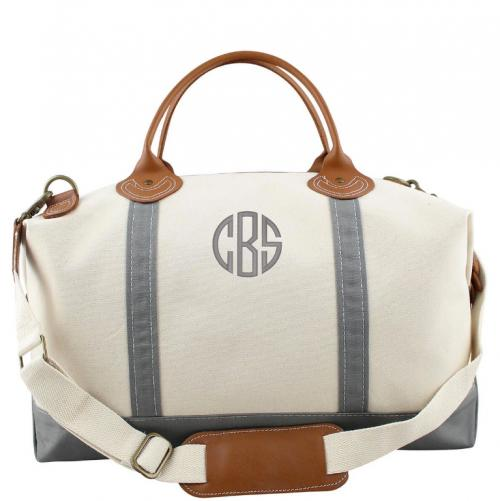 Monogrammed Weekender Natural Canvas with Gray Trim   Luggage & Bags > Duffel Bags
