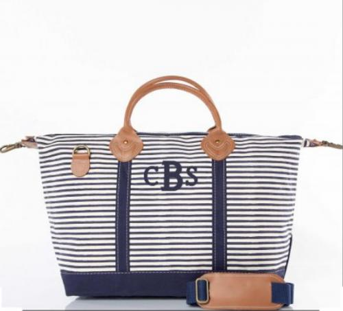 Monogrammed Weekender in Navy Stripes   Luggage & Bags > Duffel Bags