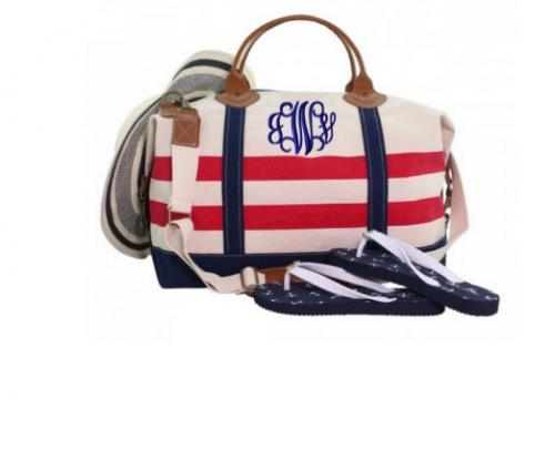 Monogrammed Red and Navy Striped Weekender Bag  Luggage & Bags > Duffel Bags