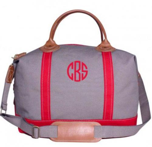 Monogrammed Weekender Gray and Red   Luggage & Bags > Duffel Bags
