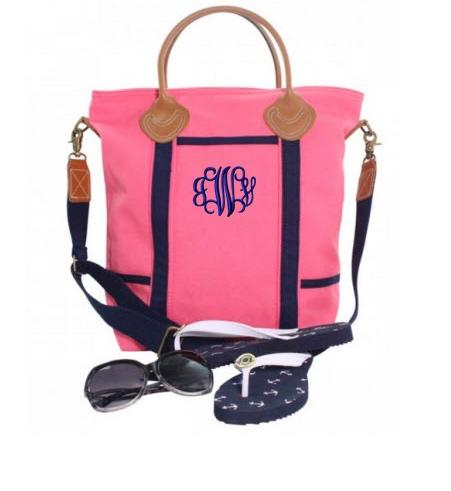 Monogrammed Shoulder Flight Bag in Coral and Navy   Luggage & Bags > Messenger Bags
