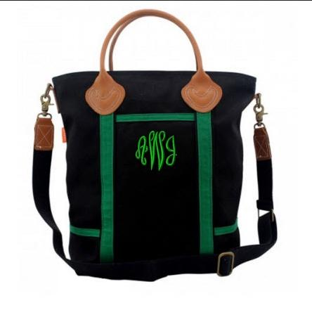 Monogrammed Crossbody Bag Black and Green   Luggage & Bags > Messenger Bags