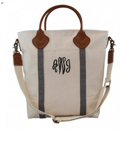 Monogrammed Shoulder Bag in Gray   Luggage & Bags > Messenger Bags