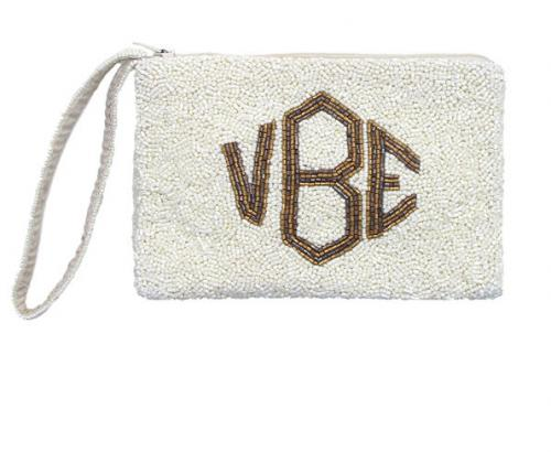 Monogrammed Guesset Bottom Hand Beaded Wristlet  Apparel & Accessories > Handbags > Clutches & Special Occasion Bags