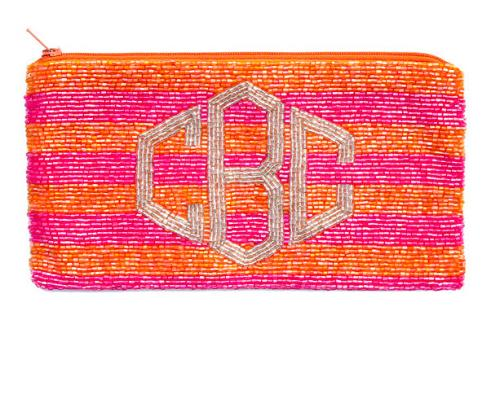 Monogrammed Striped Hand Beaded Clutch With Diamond Font  Apparel & Accessories > Handbags > Clutches & Special Occasion Bags
