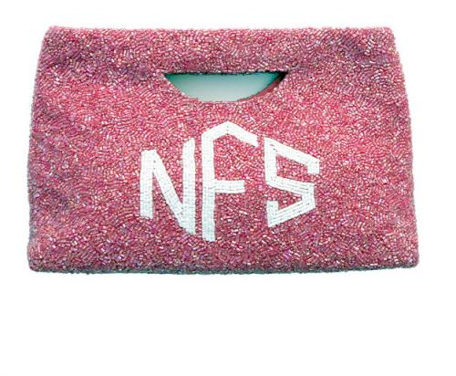 Beaded Monogram Handled Clutch  Apparel & Accessories > Handbags > Clutches & Special Occasion Bags
