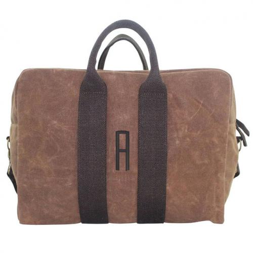 Monogrammed Canvas Duffel in Brown Khaki   Luggage & Bags > Duffel Bags