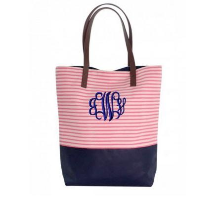 Monogrammed Tote in Coral Stripes   Apparel & Accessories > Handbags > Tote Handbags