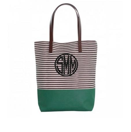 Monogrammed Tote with Black Stripes   Apparel & Accessories > Handbags > Tote Handbags