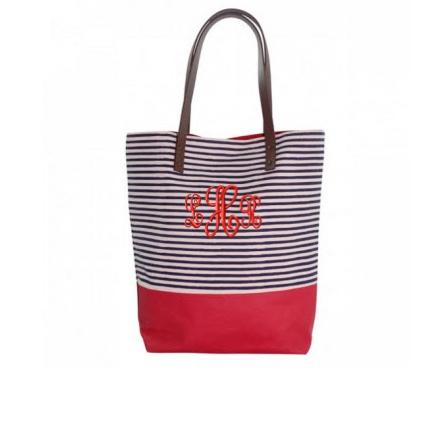 Monogrammed Red Tote with Navy Stripes   Apparel & Accessories > Handbags > Tote Handbags