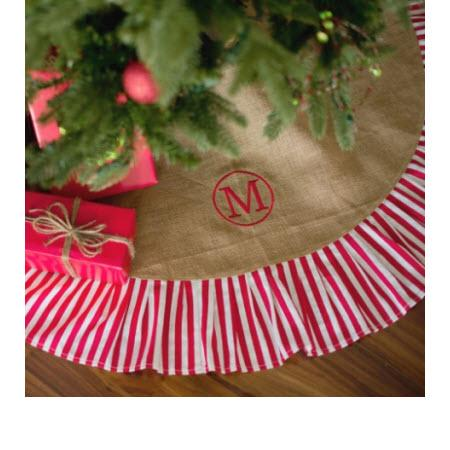 Monogrammed Striped Burlap Tree Skirt   Home & Garden > Decor > Seasonal & Holiday Decorations > Christmas Tree Skirts