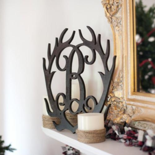 Personalized Wood Antlers Single Initial   Home & Garden > Decor > Seasonal & Holiday Decorations