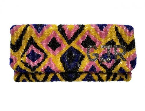 Beaded Abstract Monogram Clutch  Apparel & Accessories > Handbags > Clutches & Special Occasion Bags