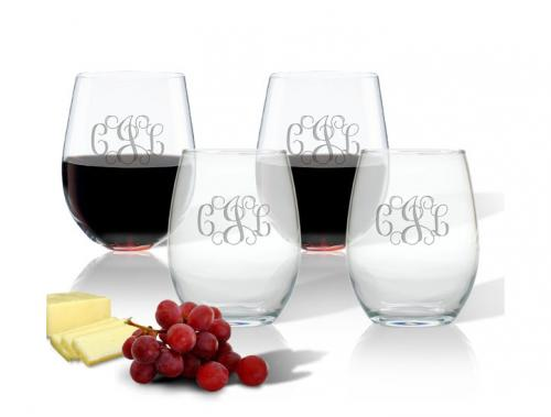 Monogrammed Stemless Wine Glasses Set for four 15 0z  Home & Garden > Kitchen & Dining > Tableware > Drinkware > Stemware