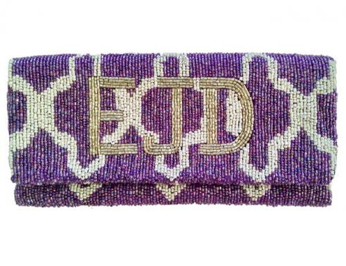 Hand Beaded Mosaic Print Monogrammed Foldover Clutch  Apparel & Accessories > Handbags > Clutches & Special Occasion Bags