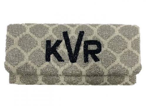 Hand Beaded Trellis Pattern Monogrammed Foldover Clutch  Apparel & Accessories > Handbags > Clutches & Special Occasion Bags