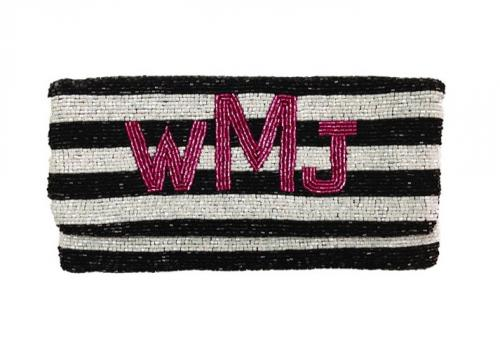 Hand Beaded Monogrammed Striped Foldover Clutch  Apparel & Accessories > Handbags > Clutches & Special Occasion Bags