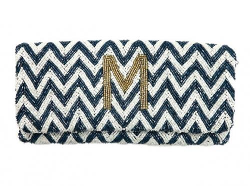 Monogrammed Hand Beaded Chevron Pattern Foldover Clutch  Apparel & Accessories > Handbags > Clutches & Special Occasion Bags