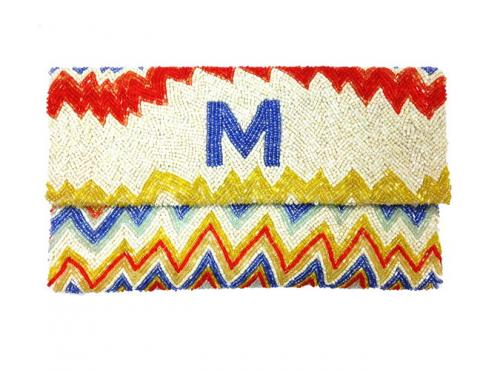Beaded Zig Zag Monogram Clutch  Apparel & Accessories > Handbags > Clutches & Special Occasion Bags