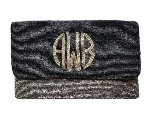 Monogrammed  Double Color Circle Monogram Large Beaded Clutch  Apparel & Accessories > Handbags > Clutches & Special Occasion Bags