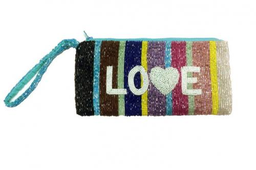 Beaded Multi Stripe Personalized Wristlet  Apparel & Accessories > Handbags > Clutches & Special Occasion Bags
