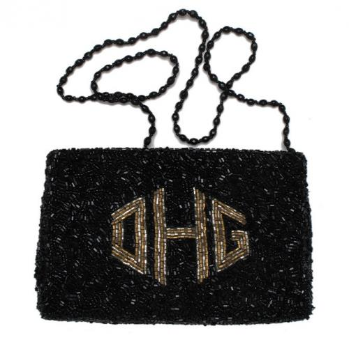 Beaded Monogram Pouch Gusset Bag  Apparel & Accessories > Handbags > Clutches & Special Occasion Bags