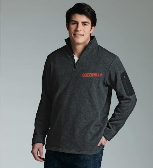 Men's Charles River Quarter Zip Heathered Sweater  Apparel & Accessories > Clothing > Activewear > Sweatshirts