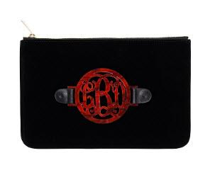 Black Velvet Harper Clutch with Interchangeable Monogram  Apparel & Accessories > Handbags > Clutches & Special Occasion Bags