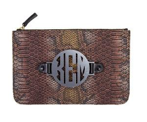 Snake Harper Clutch with Interchangeable Monogram  Apparel & Accessories > Handbags > Clutches & Special Occasion Bags