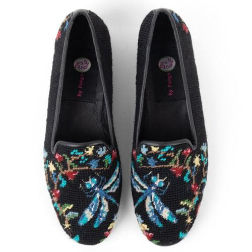 By Paige Premium Dragonfly with Flowers Ladies Needlepoint Loafers   Apparel & Accessories > Shoes > Loafers