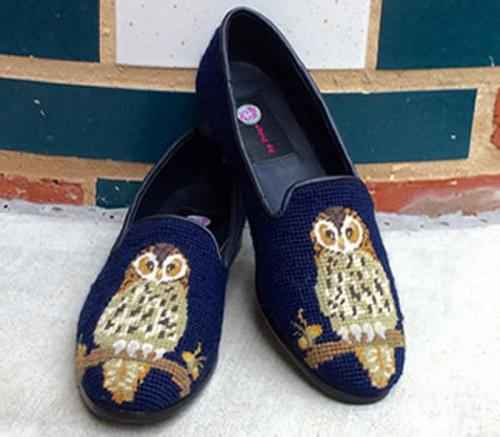 By Paige Owl on Navy Ladies Needlepoint Loafers   Apparel & Accessories > Shoes > Loafers