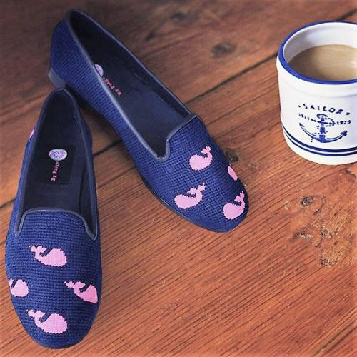 By Paige Whales on Navy Ladies Needlepoint Loafers   Apparel & Accessories > Shoes > Loafers