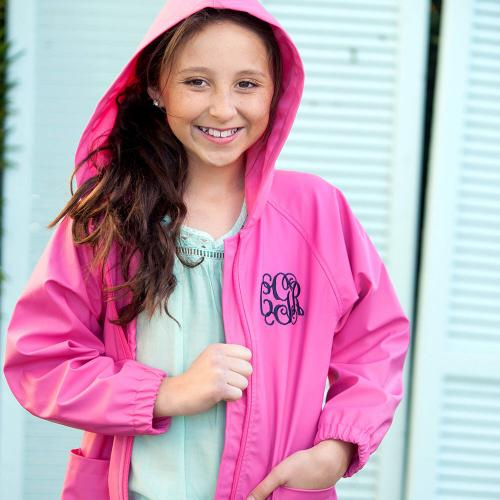 Personalized Childs Hot Pink Rain Jacket Size Large  Apparel & Accessories > Clothing > Outerwear > Rain Gear > Raincoats