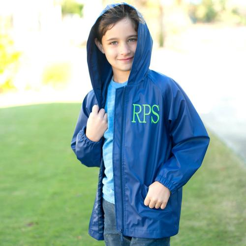 Personalized Childs Navy Blue Rain Jacket Size Large  Apparel & Accessories > Clothing > Outerwear > Rain Gear > Raincoats
