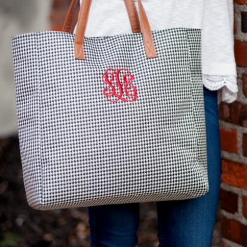 Monogrammed Houndstooth Everything Tote  Apparel & Accessories > Handbags > Tote Handbags