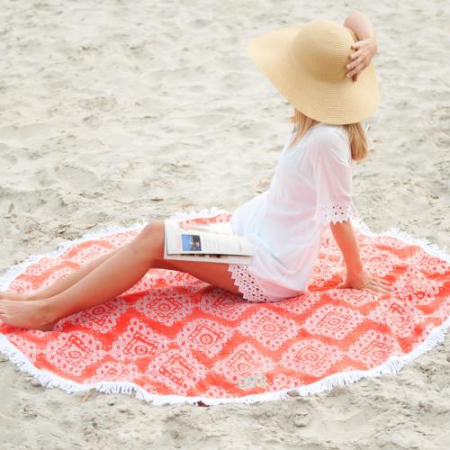 Personalized Sand Circle Beach Towel Coral Cove  Home & Garden > Lawn & Garden > Outdoor Living > Outdoor Blankets > Beach Mats
