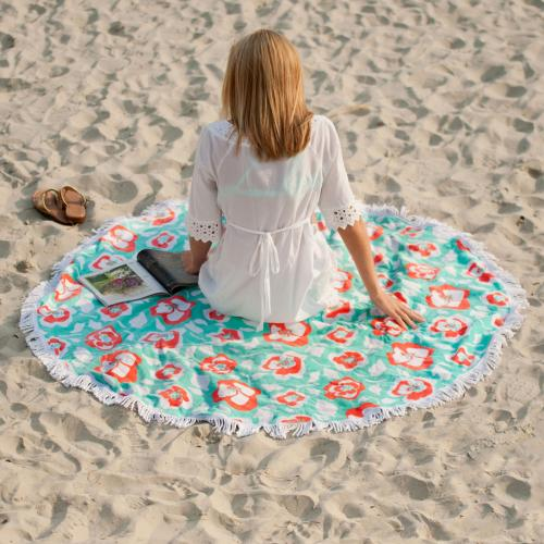 Personalized Sand Circle Beach Towel Flora Bora  Home & Garden > Lawn & Garden > Outdoor Living > Outdoor Blankets > Beach Mats