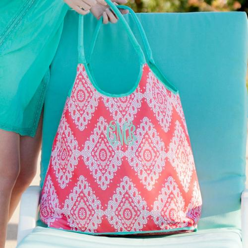 Monogrammed Beach Bag Coral Cove  Luggage & Bags