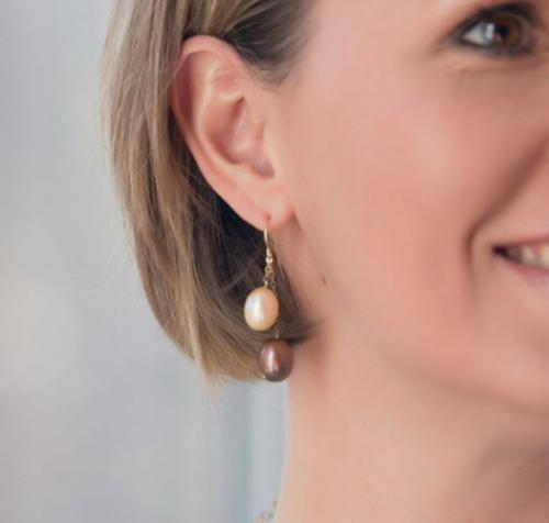 Champagne and Chocolate Pearl Double Drop Earrings Champagne and Chocolate Pearl Double Drop Earrings Apparel & Accessories > Jewelry > Precious Stones