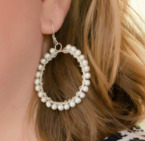 Cultured Pearl Large Hoop Earrings Cultured Pearl Large Hoop Earrings Apparel & Accessories > Jewelry > Precious Stones