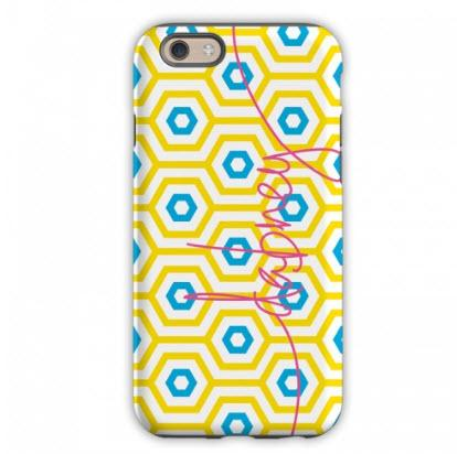 Monogrammed iPhone Case Happy Hexagon   Electronics > Communications > Telephony > Mobile Phone Accessories > Mobile Phone Cases