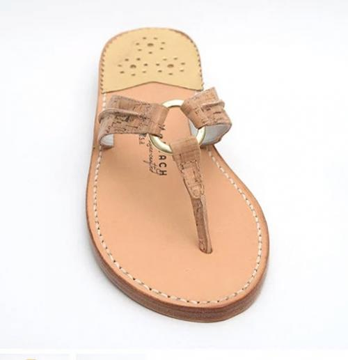 Palm Beach Sandals Hibiscus in Cork and Gold  Apparel & Accessories > Shoes > Sandals > Thongs & Flip-Flops