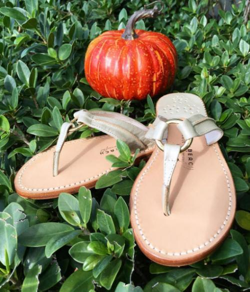 Palm Beach Sandals Hibiscus in Platinum and Platinum  Apparel & Accessories > Shoes > Sandals > Thongs & Flip-Flops